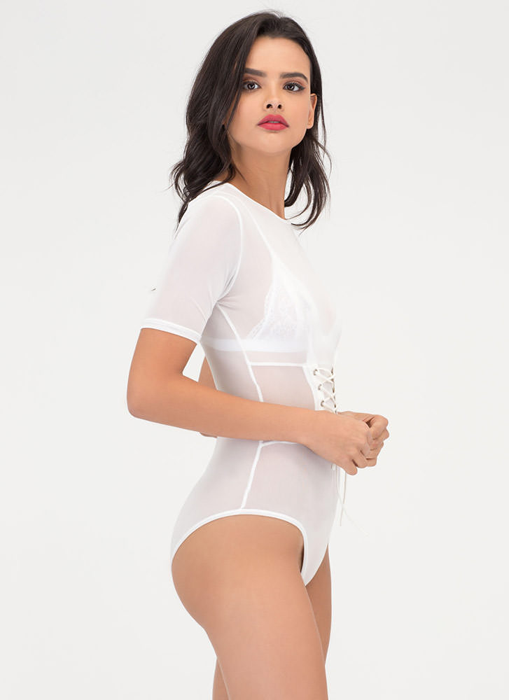 Waist No Time Sheer Lace-Up Bodysuit WHITE
