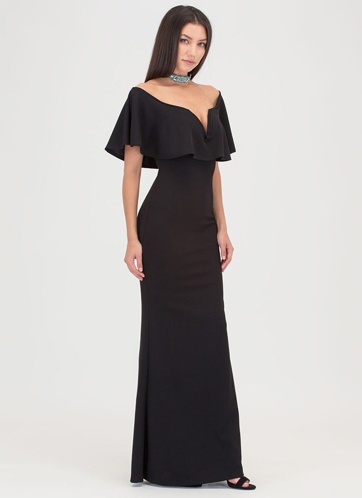 Fancy Me Off-Shoulder Mermaid Maxi BLACK