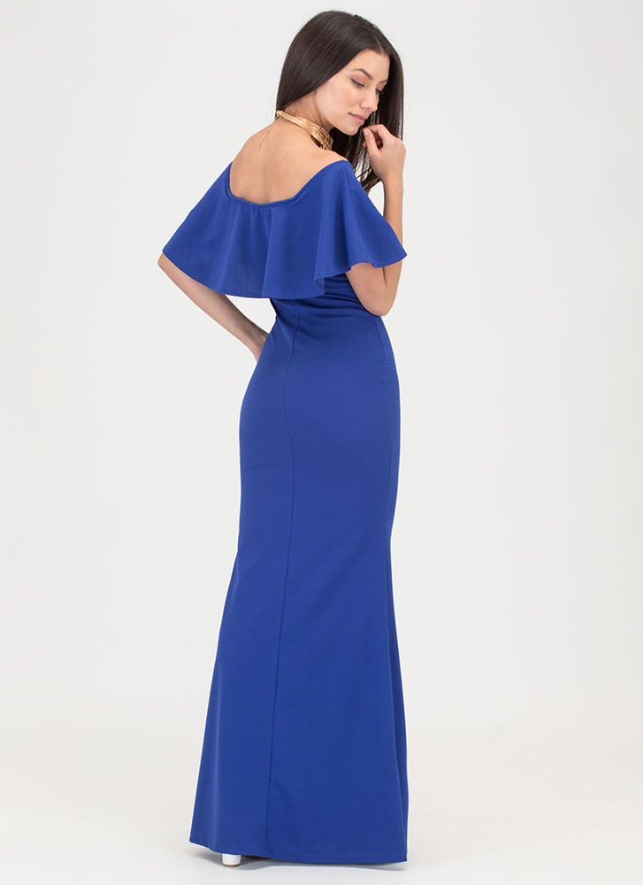 Fancy Me Off-Shoulder Mermaid Maxi ROYAL