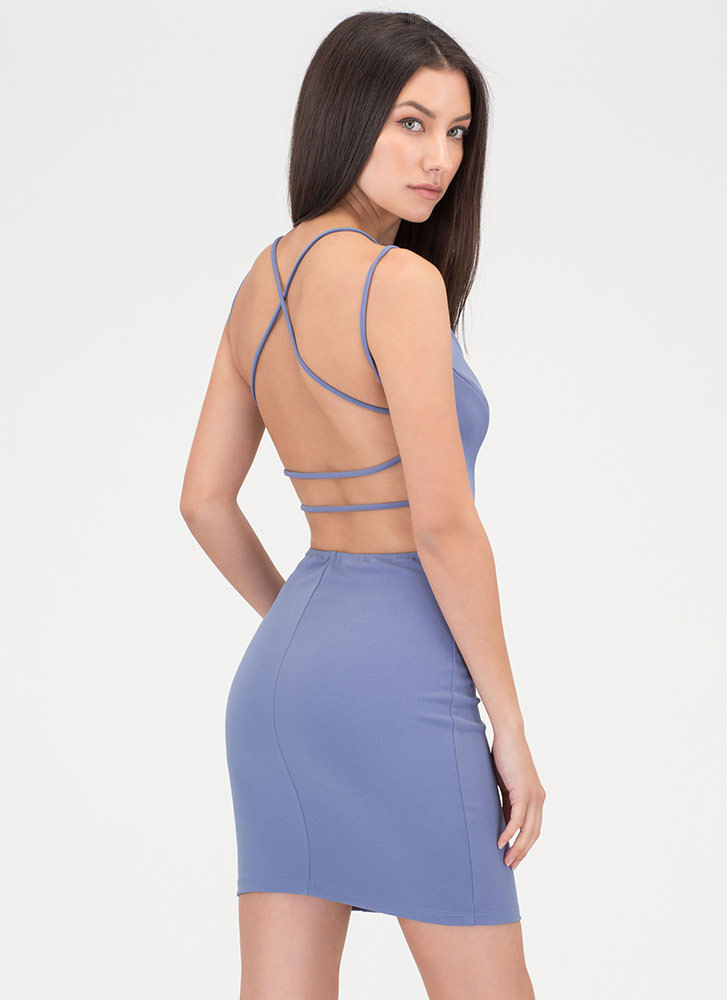 Strappy To Be Here Plunging Dress DUSTYBLUE