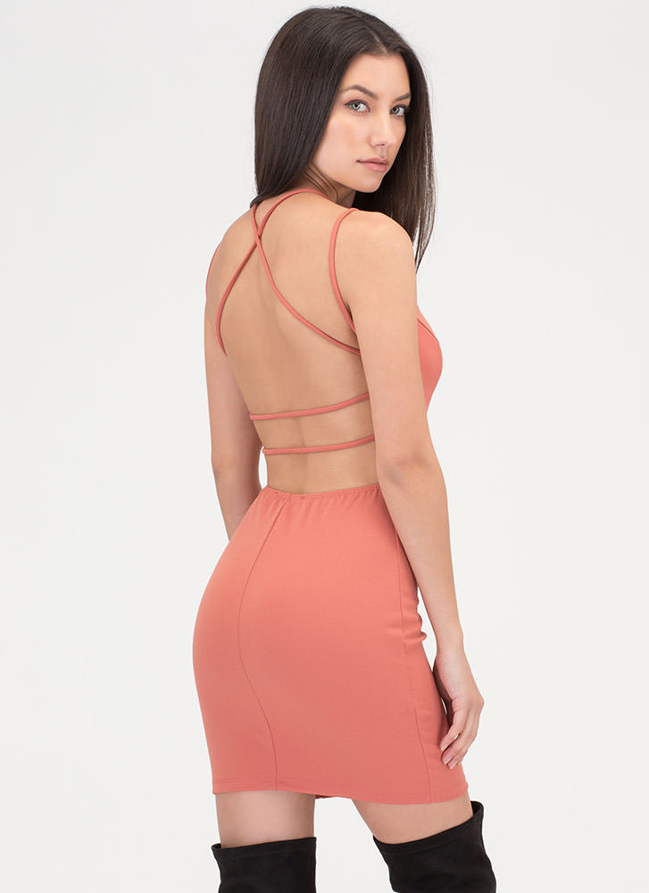 Strappy To Be Here Plunging Dress ROSE