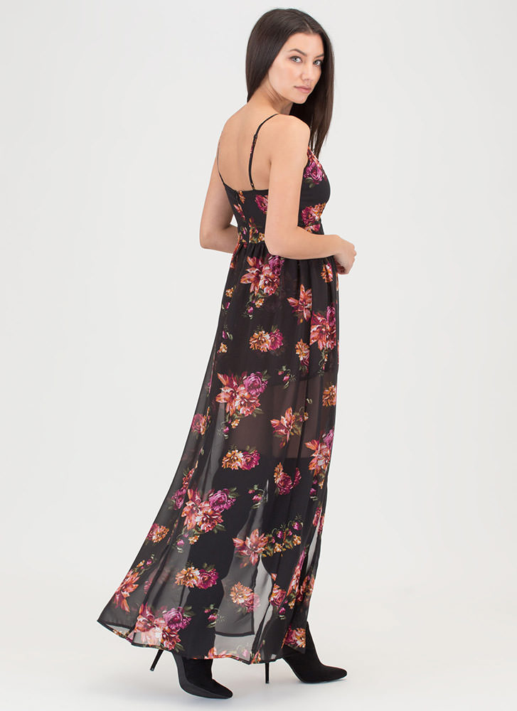 Feel The Breeze Strappy Floral Maxi BLACK
