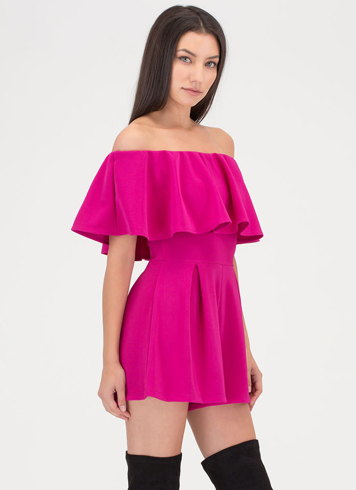 Pretty Pleats Off-Shoulder Romper MAGENTA