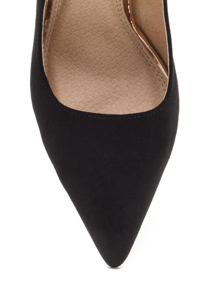 Sleek Up Pointy Faux Suede Heels BLACK