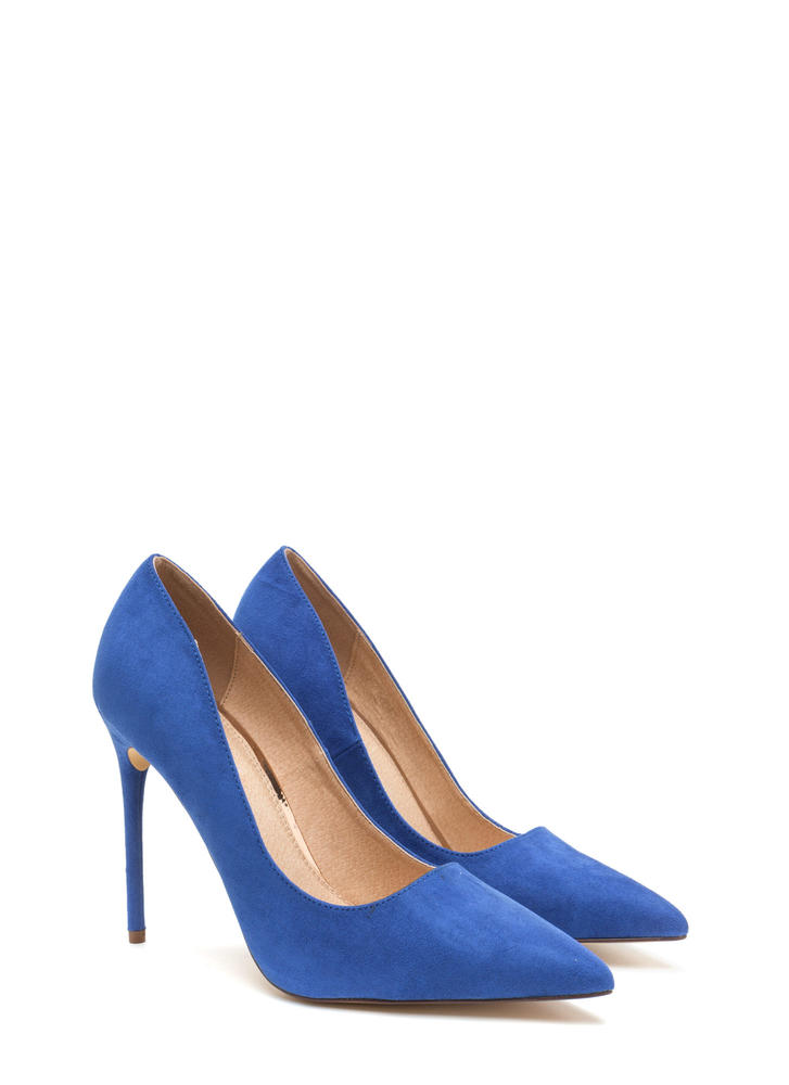 Sleek Up Pointy Faux Suede Heels BLUE