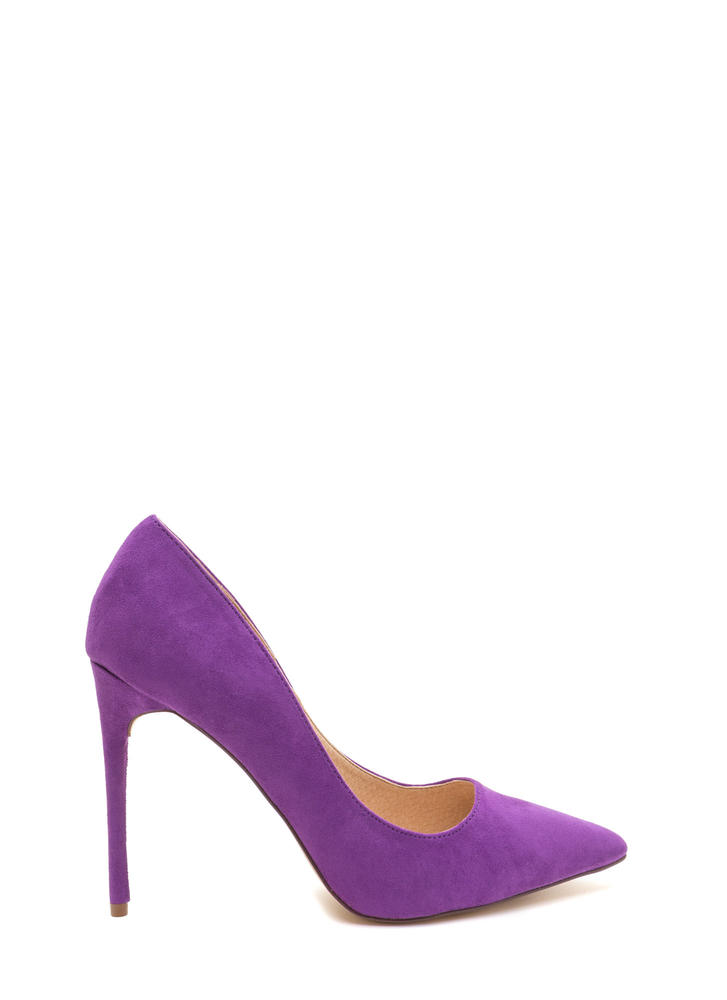 Sleek Up Pointy Faux Suede Heels PURPLE