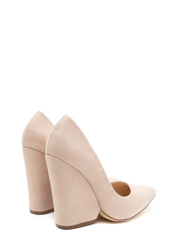 Bring Up A Point Faux Suede Wedges NUDE