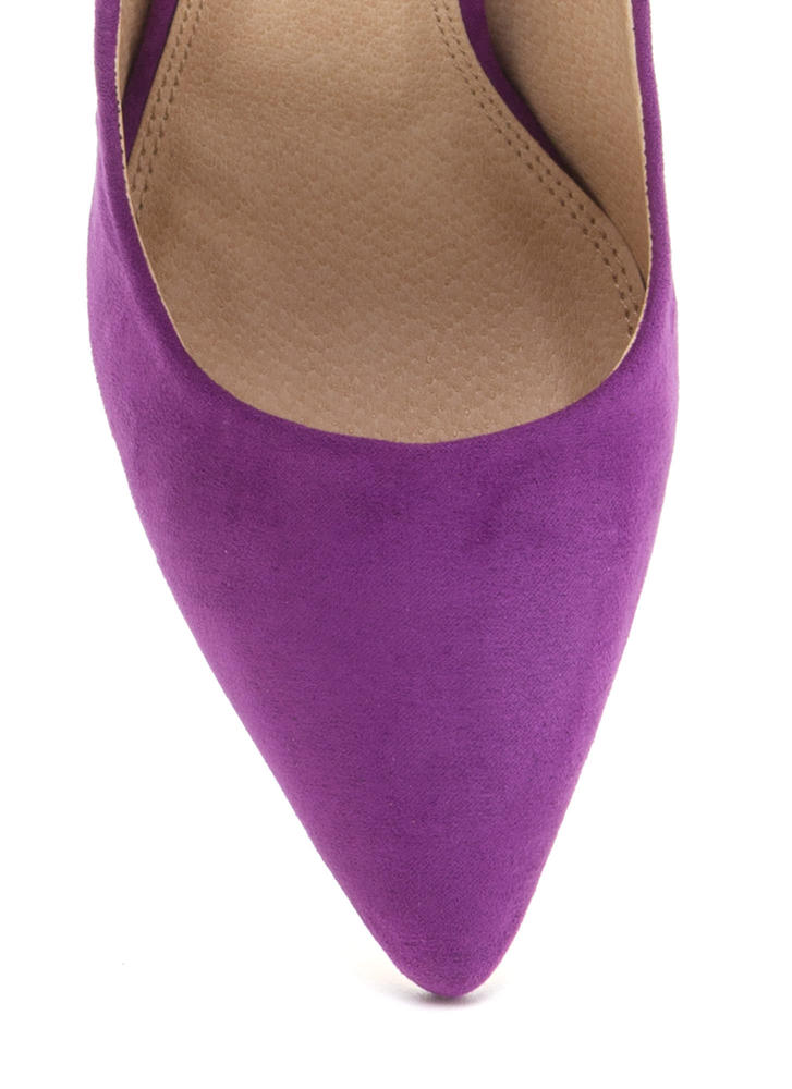 Bring Up A Point Faux Suede Wedges PURPLE