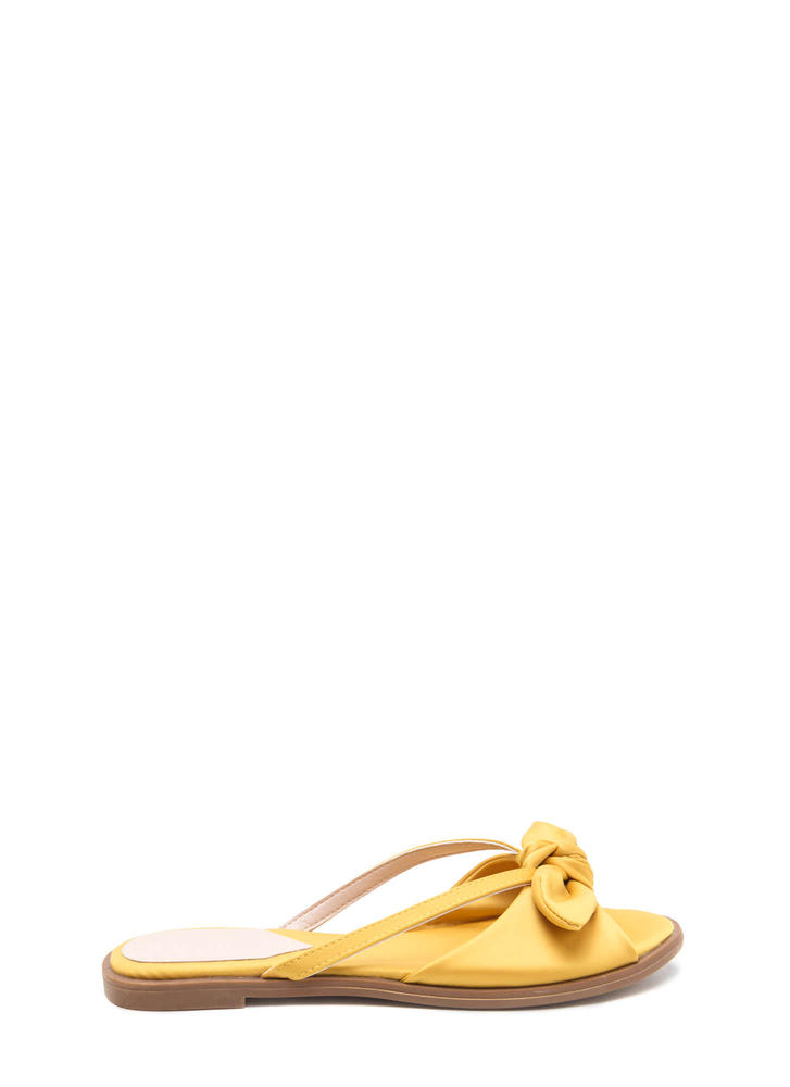 Bow Em Gee Satin Slide Sandals YELLOW