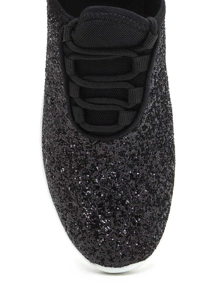 All Glitz Lace-Up Sneakers BLACK