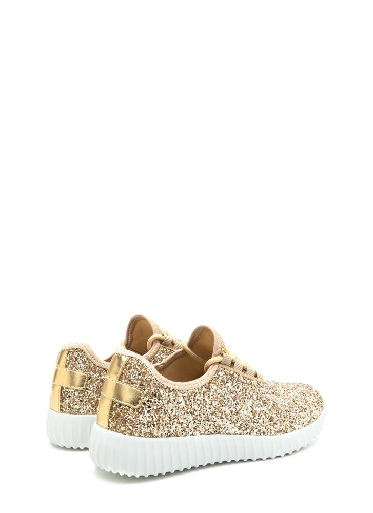 All Glitz Lace-Up Metallic Sneakers GOLD