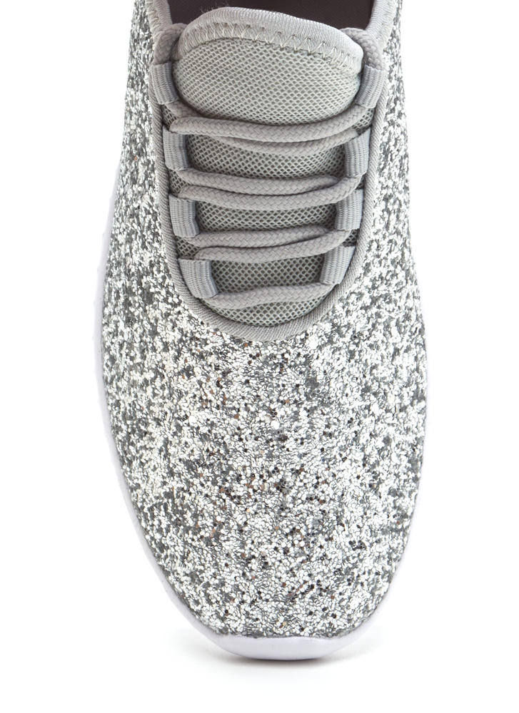 All Glitz Lace-Up Metallic Sneakers SILVER