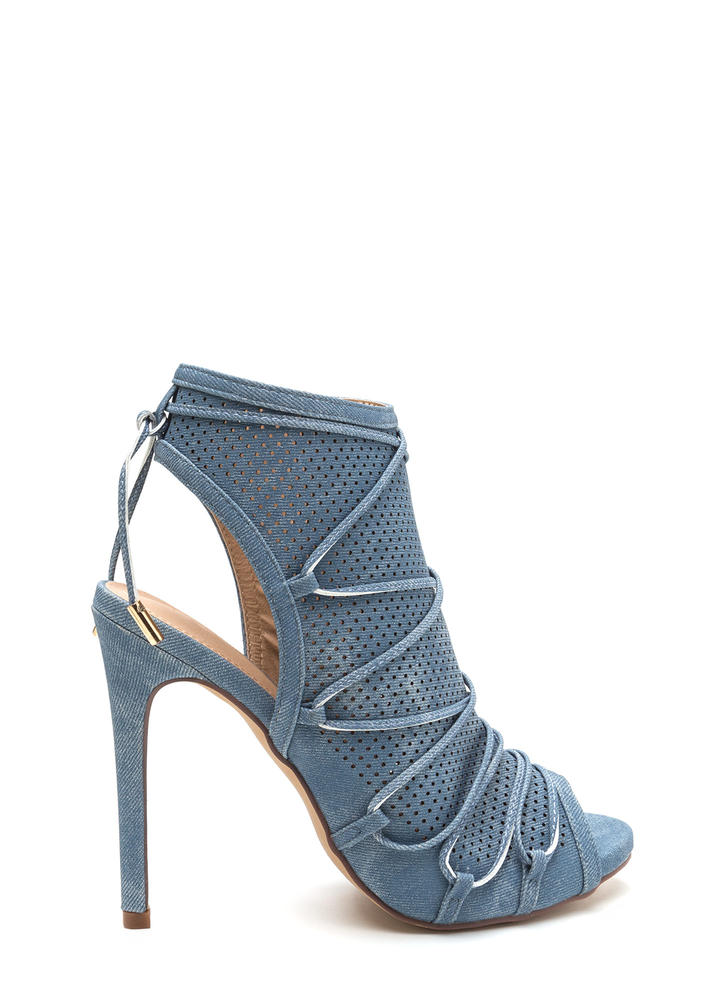 Hole Thing Faux Denim Lace-Up Heels DENIM
