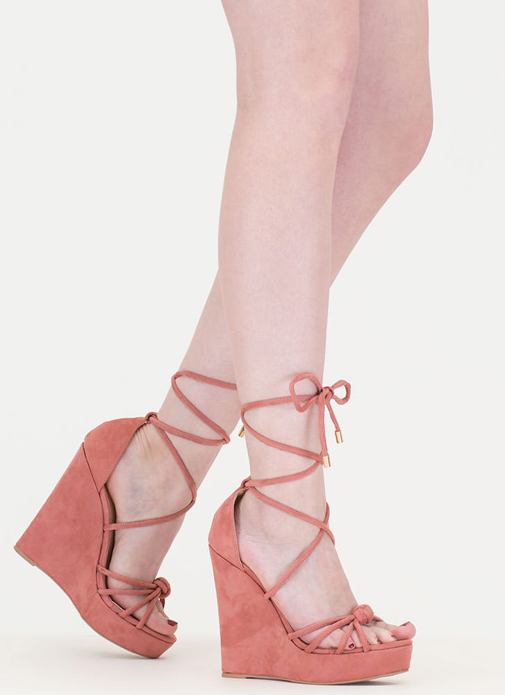 He Loves Me Knot Lace-Up Wedges DUSTYPINK