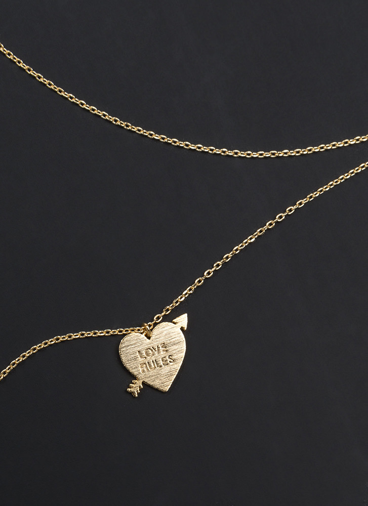 Love Rules Heart Charm Necklace GOLD