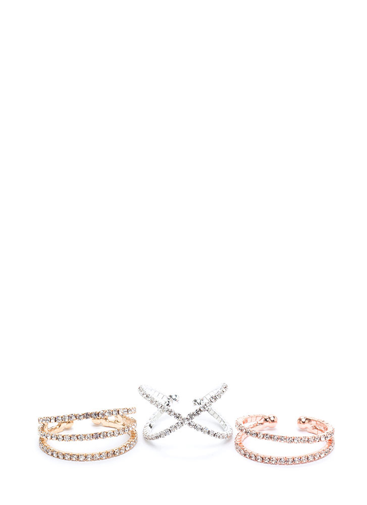 Give A Glint Rhinestone Ring Set MULTI