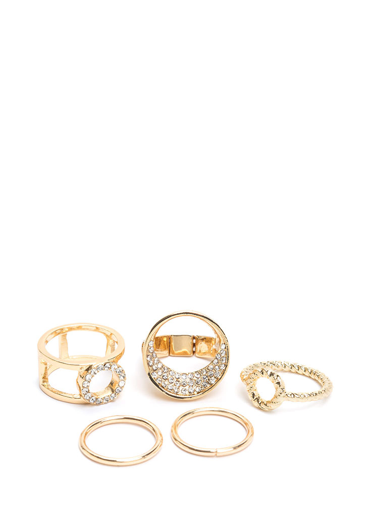 Glitz It On Rhinestone Ring Set GOLD