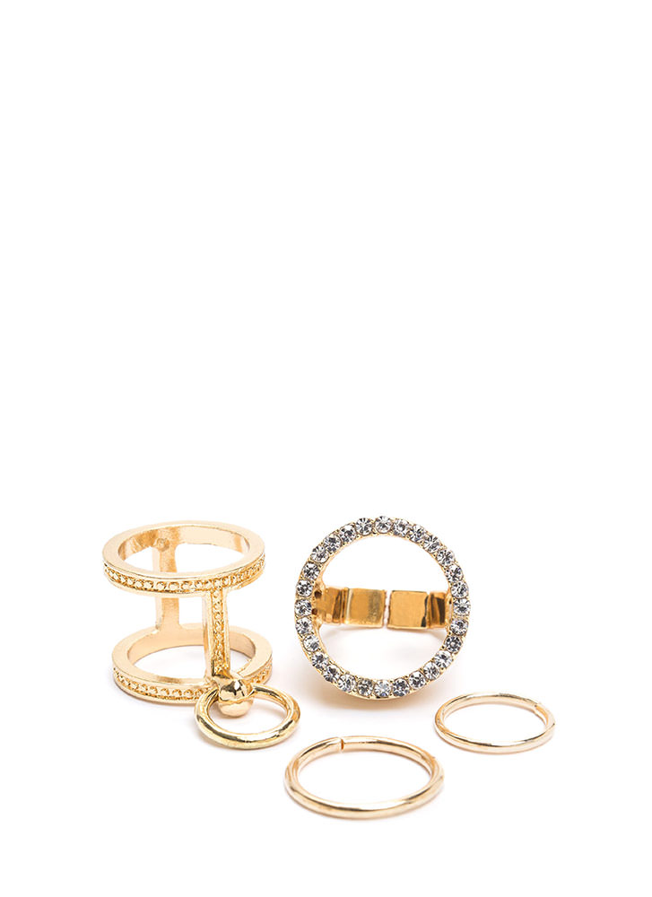 Bring The Fire Rhinestone Ring Set GOLD
