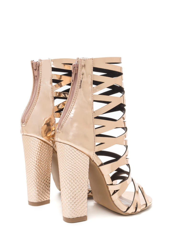 So Hammered Chunky Caged Metallic Heels ROSEGOLD