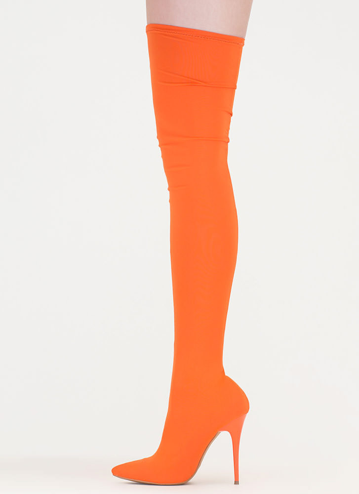 Pull Me Up Pointy Thigh-High Boots BLACK ORANGE PINK TAUPE ...