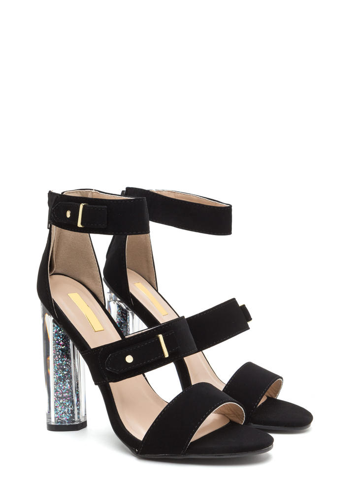 Sparkly Personality Clear Chunky Heels BLACK