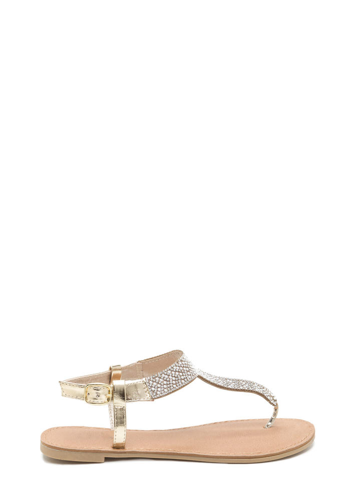 Gleam Weaver Jeweled T-Strap Sandals CHAMPAGNE