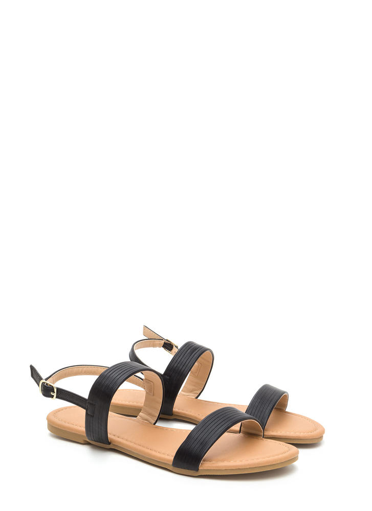 Totally Classic Faux Leather Sandals BLACK