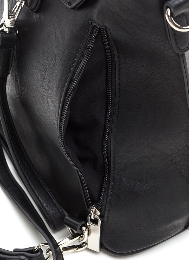 Ring True Textured Zippered Backpack BLACK