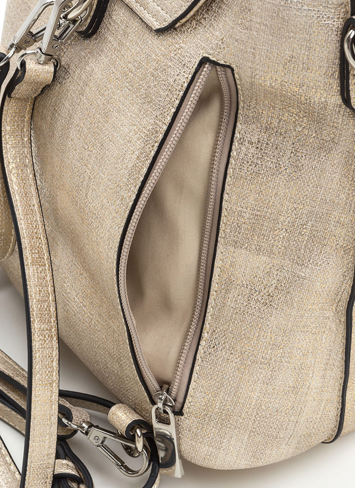 Ring True Textured Zippered Backpack GOLD