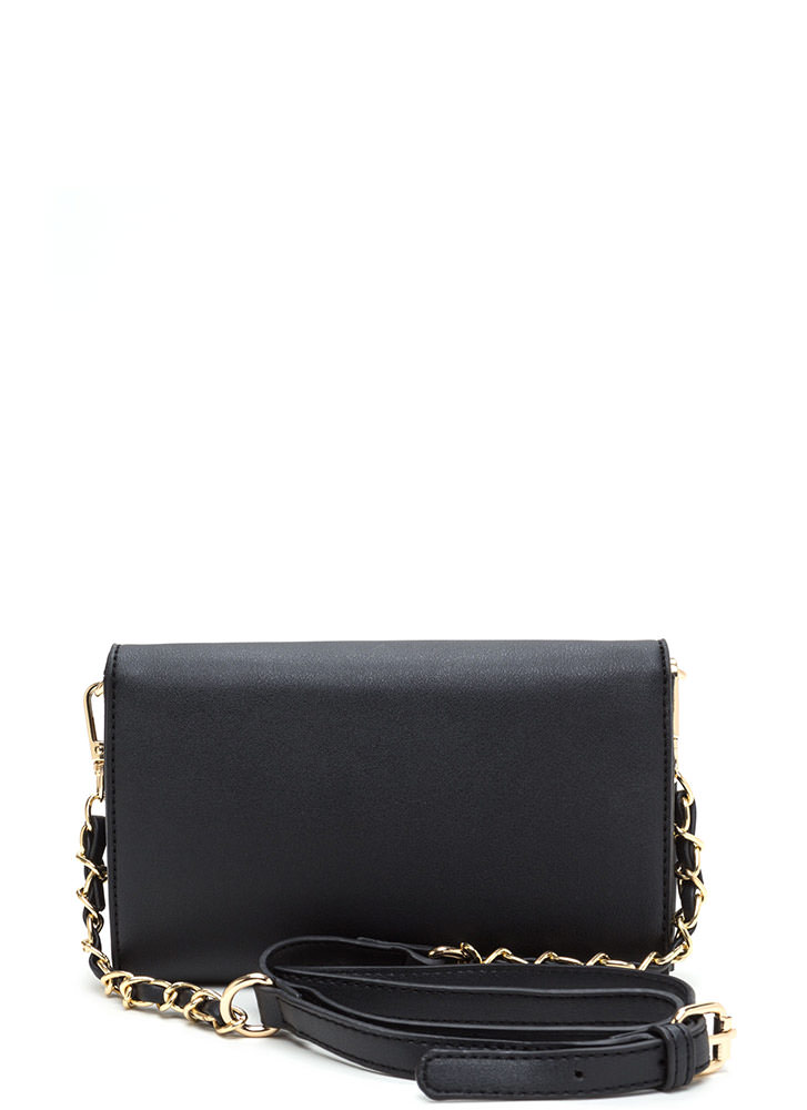 Dinner Date Faux Leather Clutch BLACK
