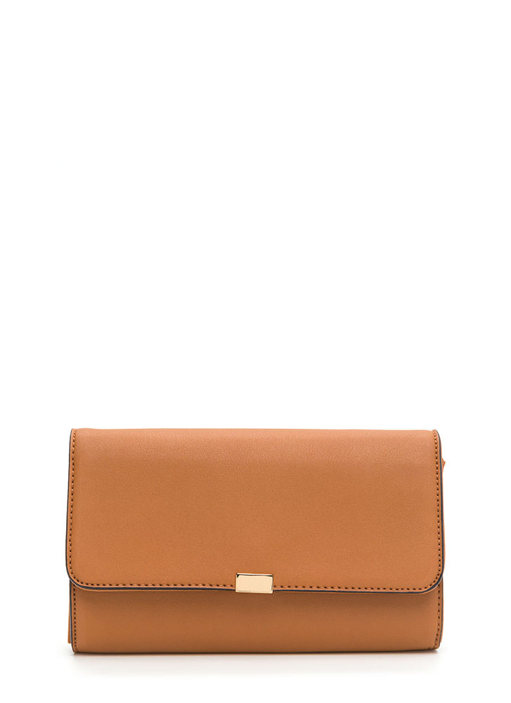 Dinner Date Faux Leather Clutch TAN