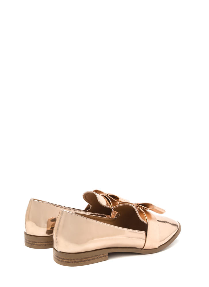 Bow Getter Metallic Loafer Flats ROSEGOLD
