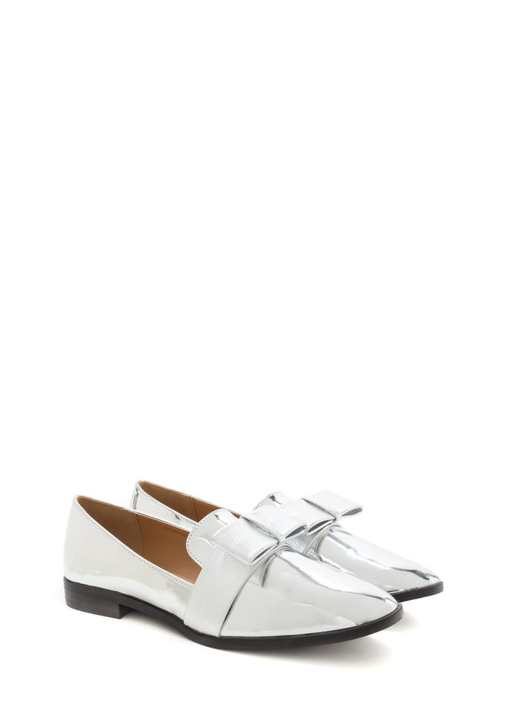 Bow Getter Metallic Loafer Flats SILVER