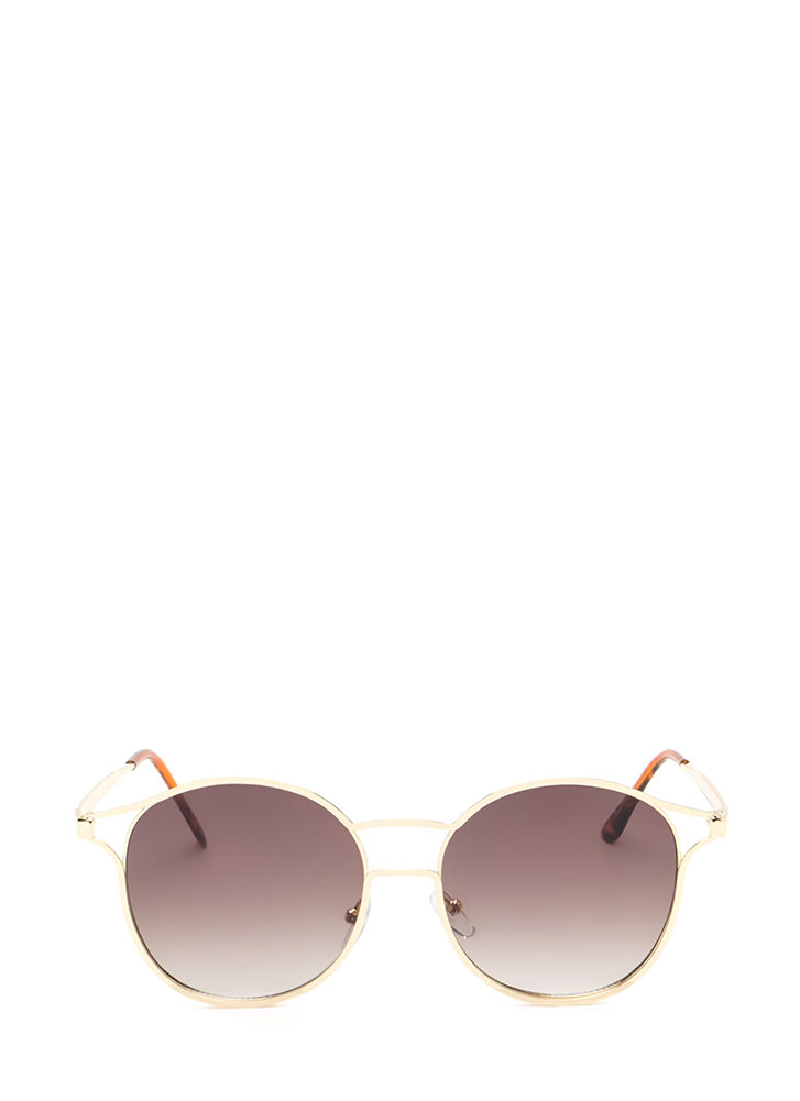 Make The Cut-Out Round Sunglasses BROWNGOLD