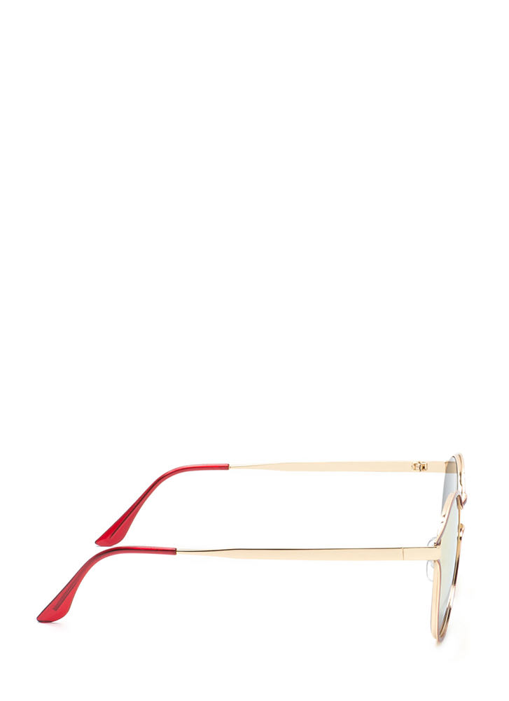 Make The Cut-Out Round Sunglasses RED