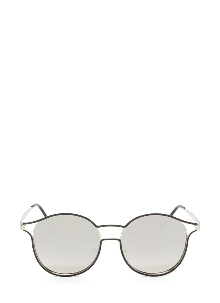 Make The Cut-Out Round Sunglasses SILVERBLACK