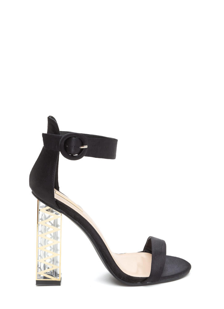 Glam Party Satin Clear Chunky Heels BLACK