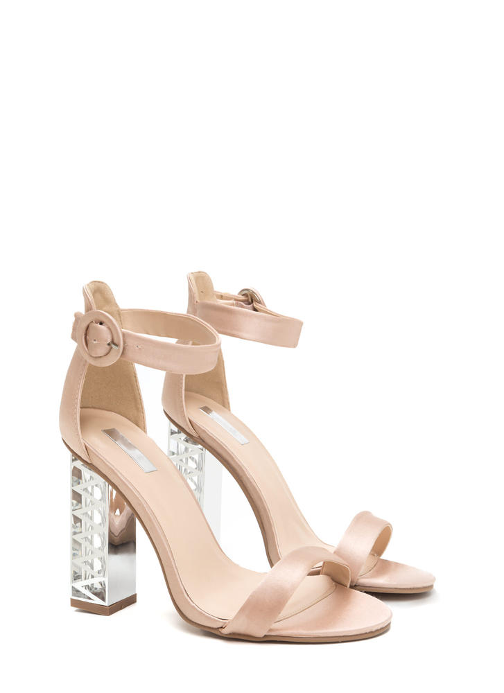 Glam Party Satin Clear Chunky Heels LTCHAMPAGNE