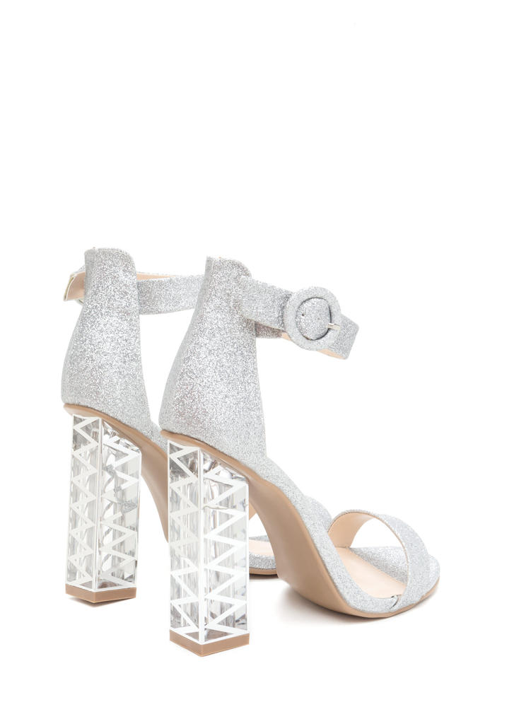 Glam Party Glittery Clear Chunky Heels SILVER