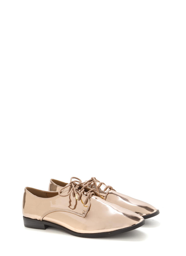 Polished Finish Metallic Oxford Flats ROSEGOLD