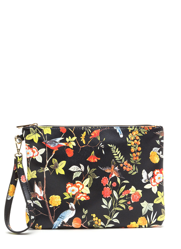 Nature Walk Printed Faux Leather Clutch BLACK