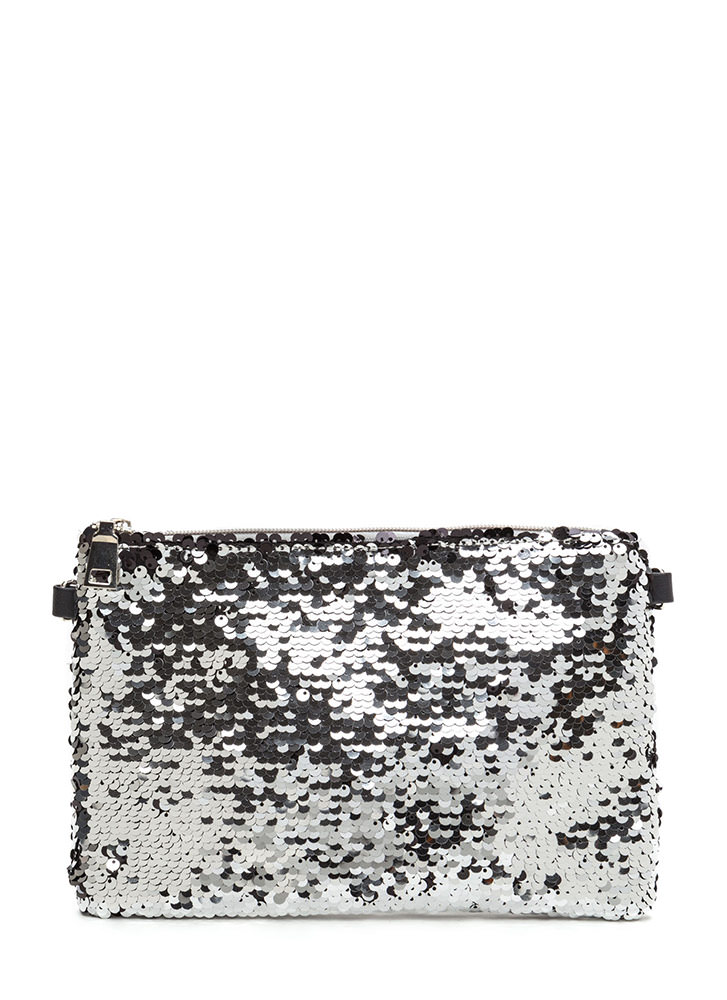 Have A Shine Time Sequined Clutch SILVER