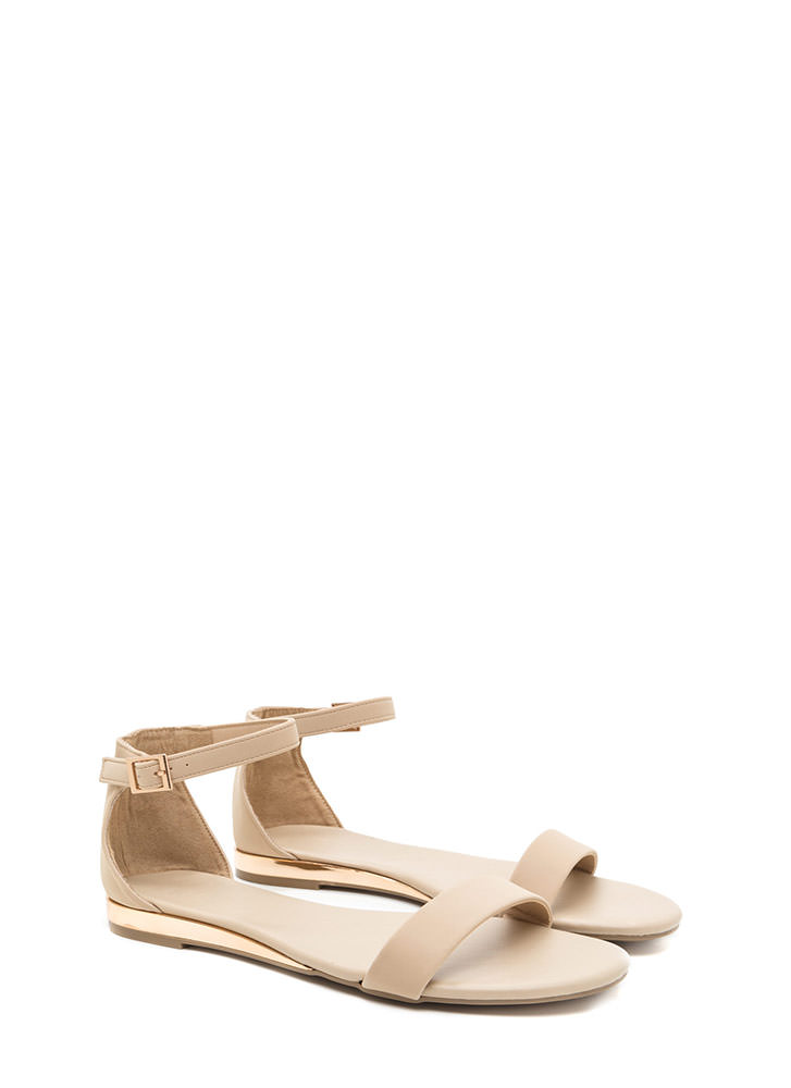 Toe The Line Strappy Faux Nubuck Sandals NUDE