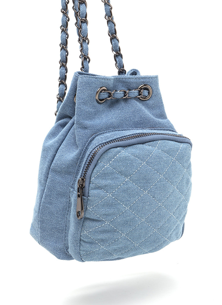 Style Genius Quilted Denim Mini Backpack LTBLUE