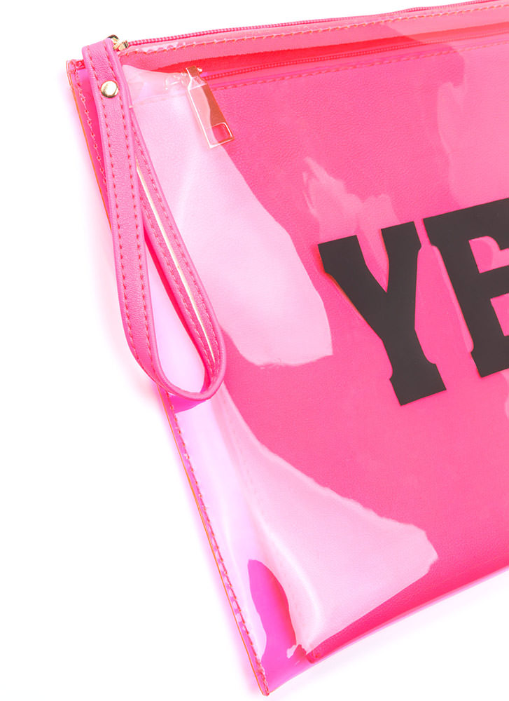 Yes Or No Flat Zippered Clutch NEONPINK