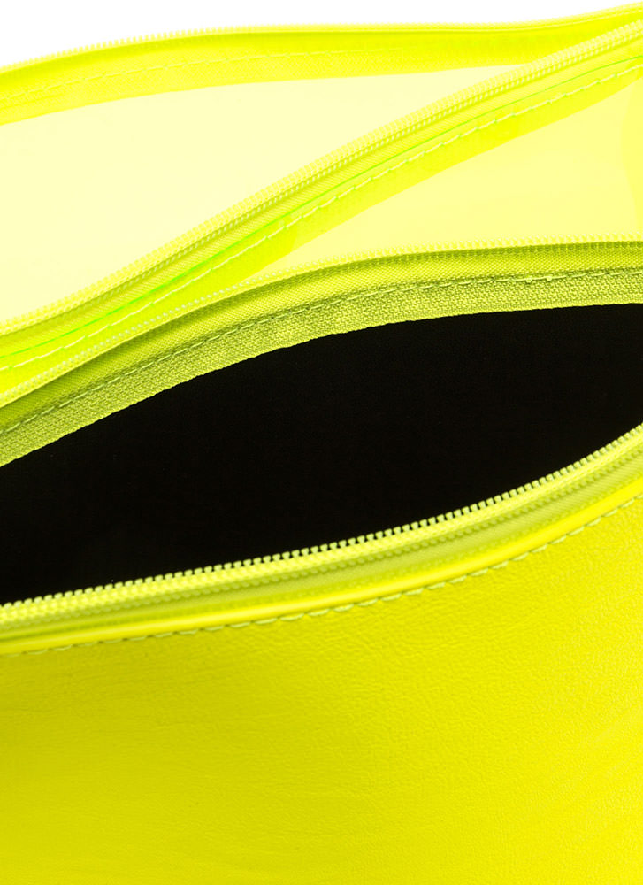 Yes Or No Flat Zippered Clutch NEONYELLOW