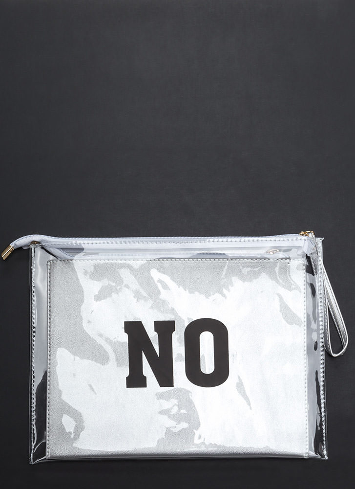 Yes Or No Flat Zippered Clutch SILVER
