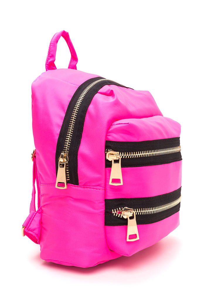 Set A Trend Chunky Zippered Backpack NEONPINK