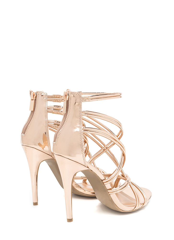 New Cage Metallic Stiletto Heels ROSEGOLD