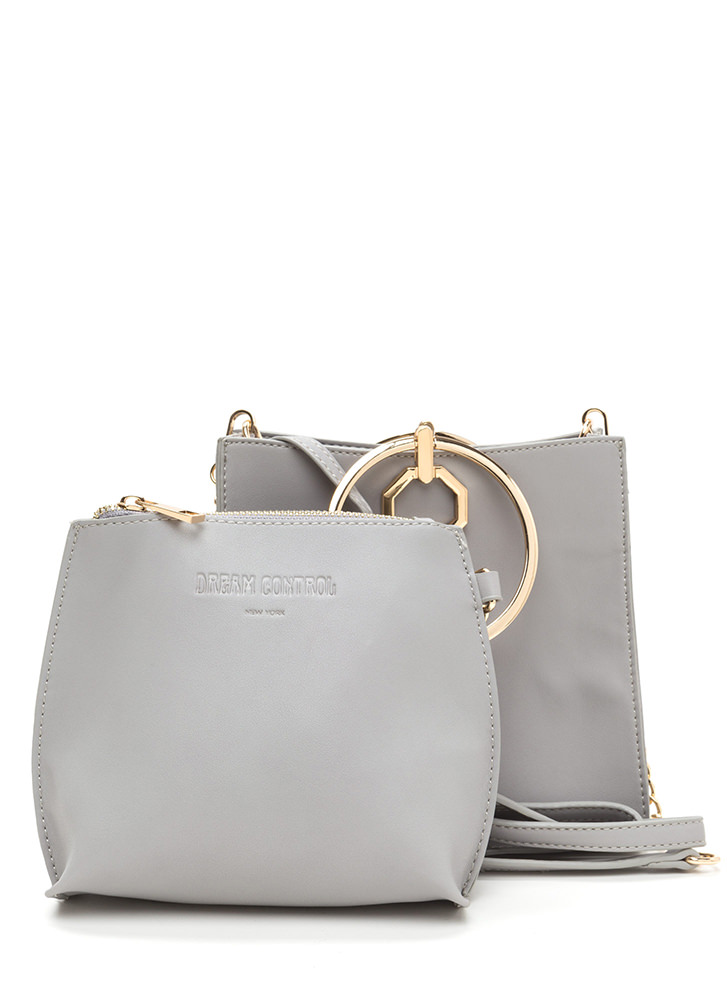 Square Away Faux Leather Ring Bag GREY